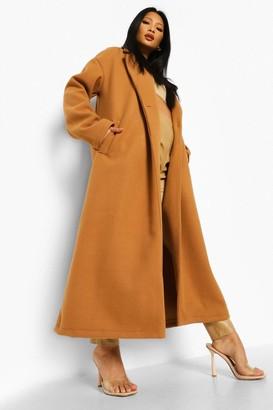 boohoo Petite Longline Wool Look Coat