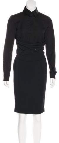 Givenchy Long Sleeve Knee-Length Dress