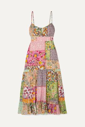 Saloni Bella Tiered Printed Cotton-blend Seersucker Midi Dress - Pink
