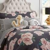 Pottery Barn Teen The Emily & Meritt Bed Of Roses Standard Sham, Black/Pink
