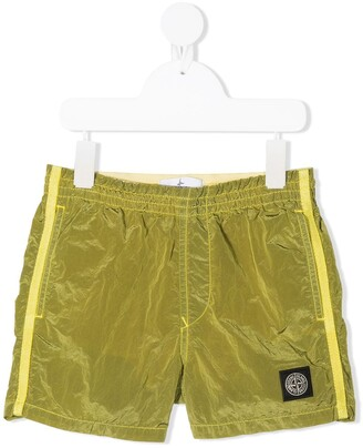 Stone Island Junior TEEN logo patch track shorts