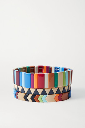 Roxanne Assoulin Grounded Rainbow Set Of Three Enamel And Gold-tone Bracelets - Brown