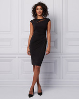 Le Château Pleated Knit Wrap-Like Dress