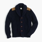J.Crew Boys' shawl-collar cotton cardigan sweater with shoulder patches