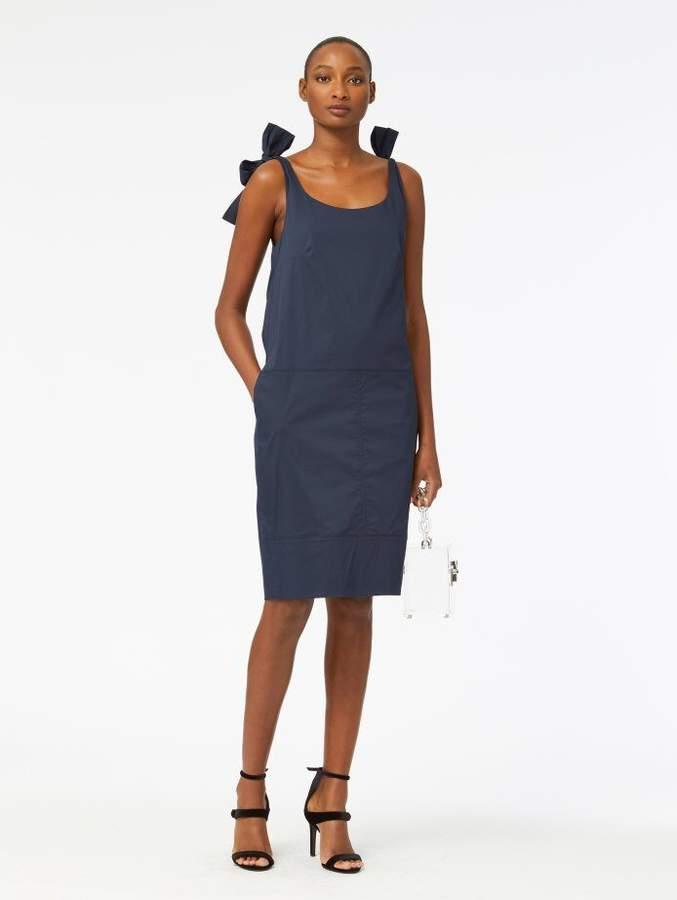 Oscar de la Renta Bow-Detail Stretch-Cotton Poplin Dress