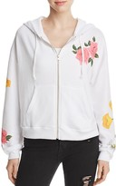 Wildfox Couture Floral Zip-Front Hoodie Sweatshirt