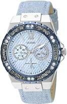 GUESS GUESS? Women's U0775L1 Iconic Sky Blue Denim Multi-Function Watch