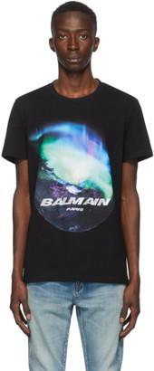 Balmain Black Northern Lights Logo T-shirt