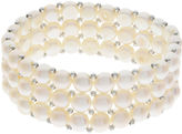 FINE JEWELRY Cultured Freshwater Pearl Sterling Silver 3-Row Stretch Bracelet