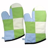 [Lime] Durable Heat Resistant Patchwork Oven Gloves/Canvas Mitts 2-Pack