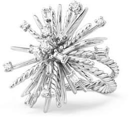 David Yurman Supernova 18K White Gold Ring with Diamonds, Size 8