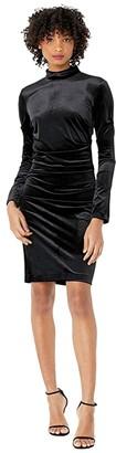 Nicole Miller Stretch Velvet Turtleneck Dress (Black) Women's Clothing