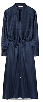 Tory Burch Striped Satin Drawstring Dress