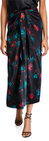Ganni Tie-Waist Floral Satin Long Skirt