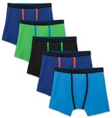 Fruit of the Loom Boys' Breathable Micro-Mesh Boxer Briefs 5 Pack - Multi-Colored