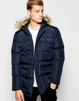 French Connection Hooded Quilted Parka - Navy