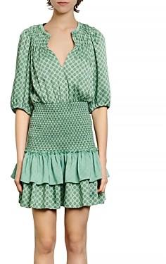 Sandro Sivan Smocked Mini Dress