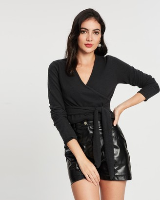 Missguided Brushed Long Sleeve Wrap Top