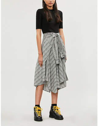 Maje Rapri checked-skirt stretch-jersey and crepe midi dress