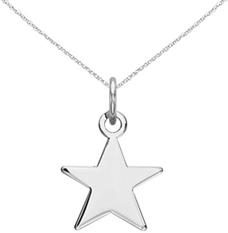 14K White Gold Plain .013 Gauge Star Charm with 18-inch Cable Rope Chain by Versil