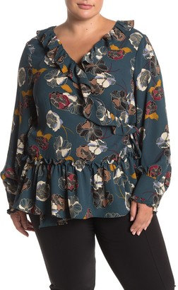 Everleigh Print Ruffle Wrap Blouse (Plus Size)
