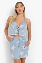 Thumbnail for your product : boohoo Star Print Wrap Waistband Denim Mini Skirt