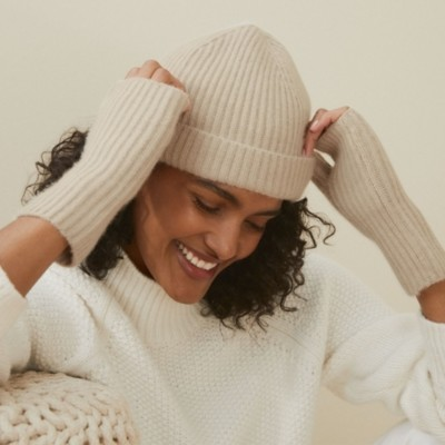 The White Company Cashmere Ribbed Hat, Camel, One Size