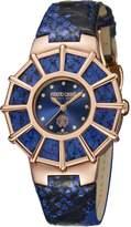 Roberto Cavalli RV2L009L0086 WEBBING Women's Yellow Gold IP Blue Dial Blue Leather Watch