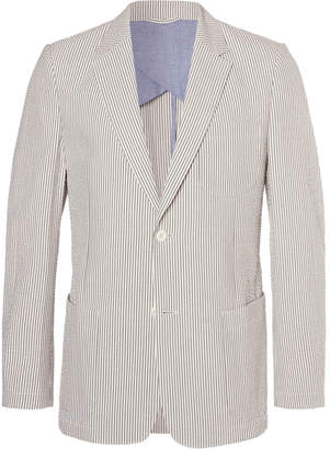 Mr P. Blue Striped Cotton-Seersucker Blazer