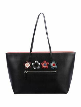 Fendi Medium Flower-Embellished Roll Tote Black