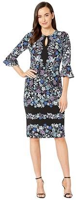 Maggy London Printed Texture Sheath Dress with Ruffle Sleeve (Dark Navy/Blue) Women's Dress