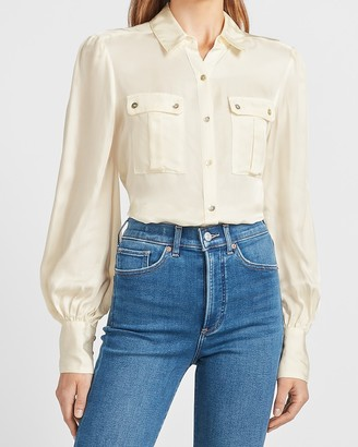 Express Two Pocket Puff Sleeve Utility Shirt