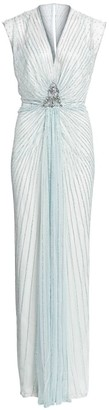Jenny Packham Amelie Embellished V-Neck Draped Gown