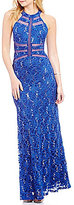 B. Darlin Sequin Lace Illusion-Inset High Neck Open-Back Long Dress
