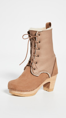 NO.6 STORE Fox Lace High Heel Shearling Boots