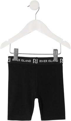 River Island Mini Girls Waistband Cycling Shorts-Black
