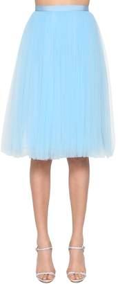 DELPOZO High Wiasted Silk Tulle Midi Skirt
