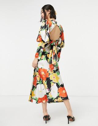 ASOS DESIGN satin puff sleeve bias midi dress in bold floral print