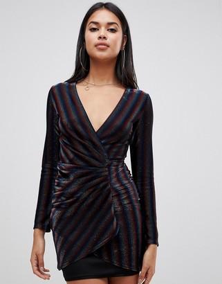 TFNC rainbow wrap front mini dress in multi