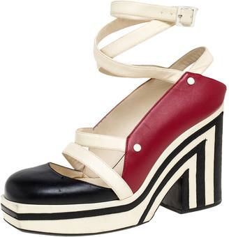 Chanel Tri Color Leather Ankle Wrap Square Toe Platform Sandal Size 38