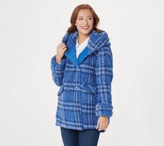 Centigrade Plaid Sherpa Jacket with Button Closure