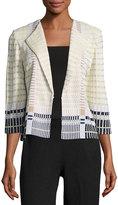 Ming Wang Check-Pattern Knit Jacket, Multi