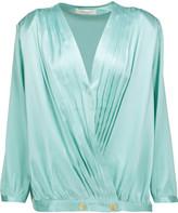 Pierre Balmain Pleated silk-satin wrap blouse