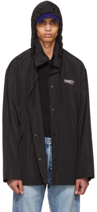 Balenciaga Black Archetype Logo Raincoat