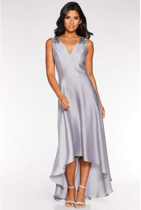 Quiz Grey Satin Embellished Dip Hem Dress
