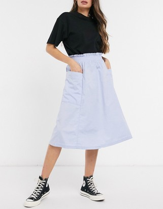 Monki Qia organic cotton midi skirt in light blue