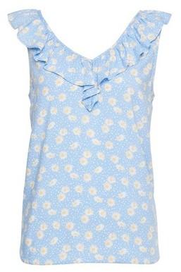 Dorothy Perkins Womens Dp Petite Blue Daisy Print Ruffle Top, Blue