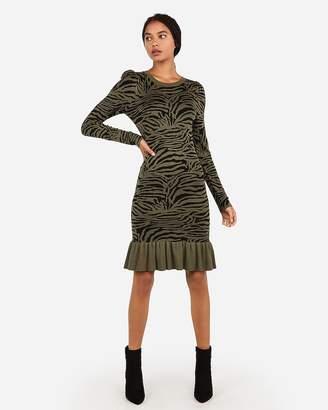 Express Zebra Print Ribbed Flounce Hem Sweater Dress