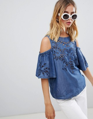 New Look embroidered chambray cold shoulder blouse-Blue