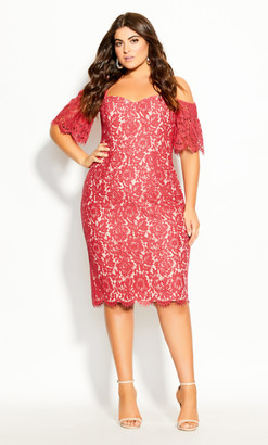 City Chic Lace Whisper Dress - raspberry